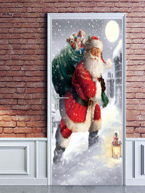 Christmas Santa Claus Gift Print Door Stickers - RED 2PCS X 15 X 79 INCH