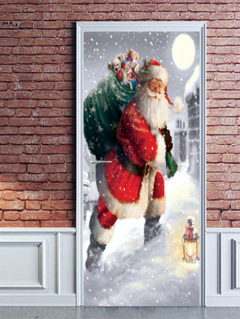 Christmas Santa Claus Gift Print Door Stickers - RED 2PCS X 18 X 79 INCH