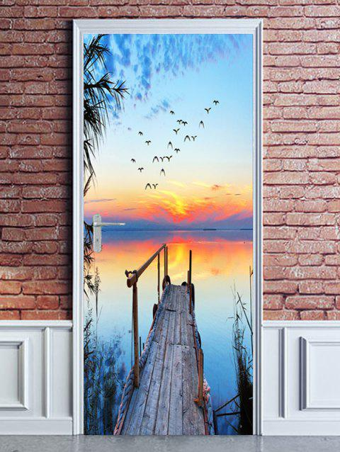 Sunset Waterside Bridge Print Stickers de porte - multicolor 2PCS X 18 X 79 INCH