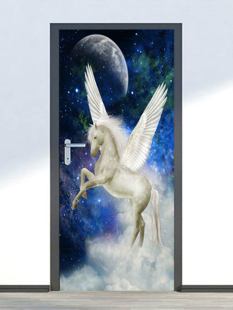 Galaxy Unicorn Print Stickers De Porte - Blanc 2PCS X 18 X 79 INCH