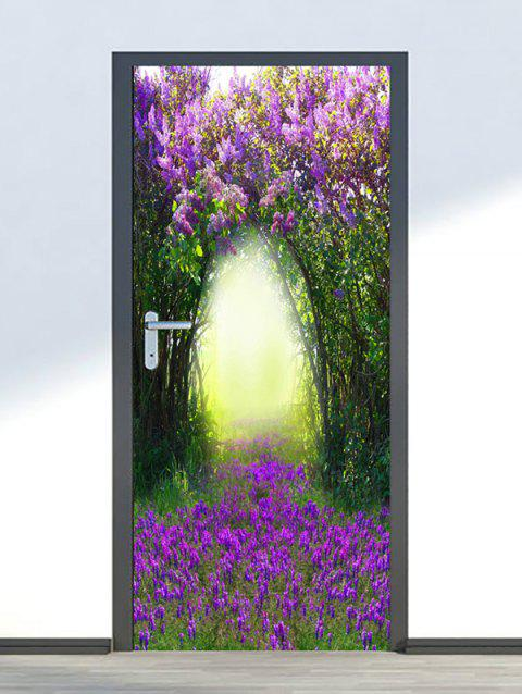 Floral Tree Hole Print Door Stickers - multicolor 2PCS X 18 X 79 INCH