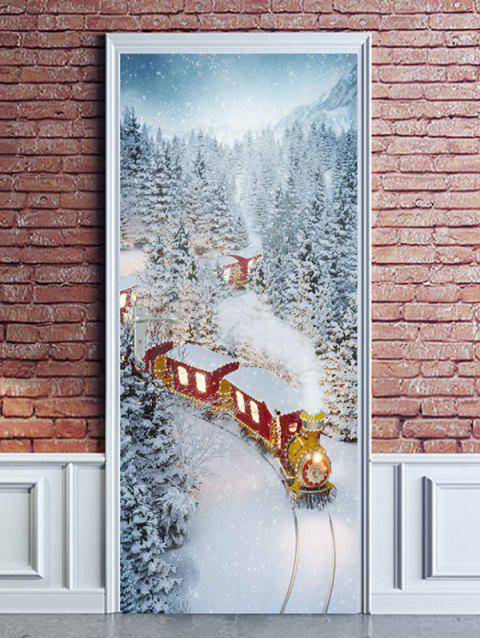 Christmas Train Snowy Forest Print Door Stickers - WHITE 2PCS X 18 X 79 INCH
