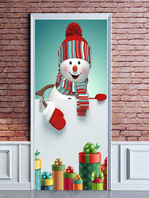 Christmas Snowman Gifts Print Door Stickers - WHITE 2PCS X 15 X 79 INCH