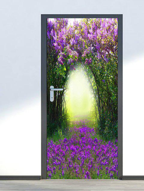 Floral Tree Hole Print Door Stickers - multicolor 2PCS X 15 X 79 INCH