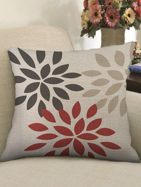 Flower Petal Print Sofa Linen Pillowcase - multicolor W18 X L18 INCH