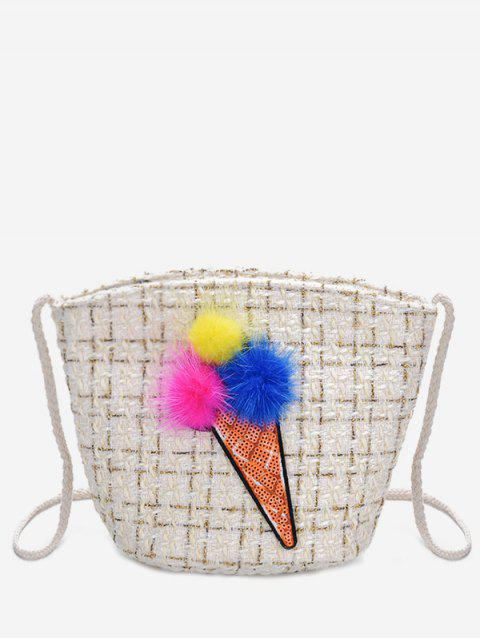 Bucket Ice Cream Pattern Crossbody Bag - WHITE