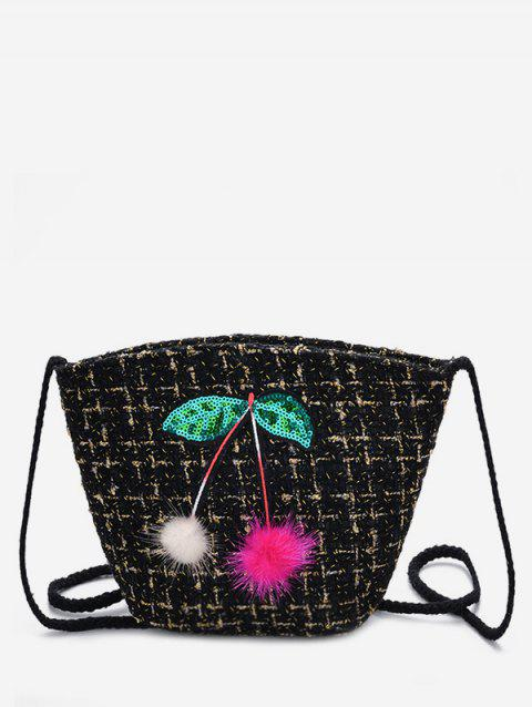 Going Out Cherry Pattern Bucket Bag - BLACK