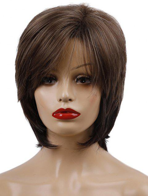 Short Inclined Bang Straight Layer Synthetic Wig - COFFEE