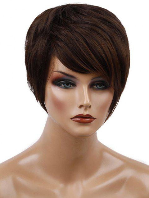 Inclined Bang Capless Straight Short Synthetic Wig - COFFEE