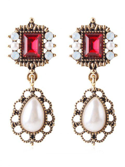 Elegant Rhinestone Faux Gem Drop Earrings - CHESTNUT RED