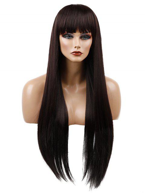 Long Capless Neat Bang Straight Synthetic Wig - DEEP COFFEE