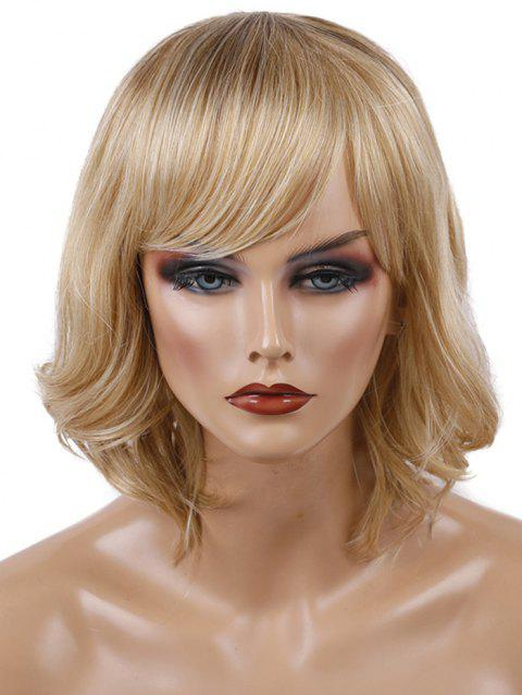 Short Inclined Bang Wavy Colormix Capless Synthetic Wig - multicolor