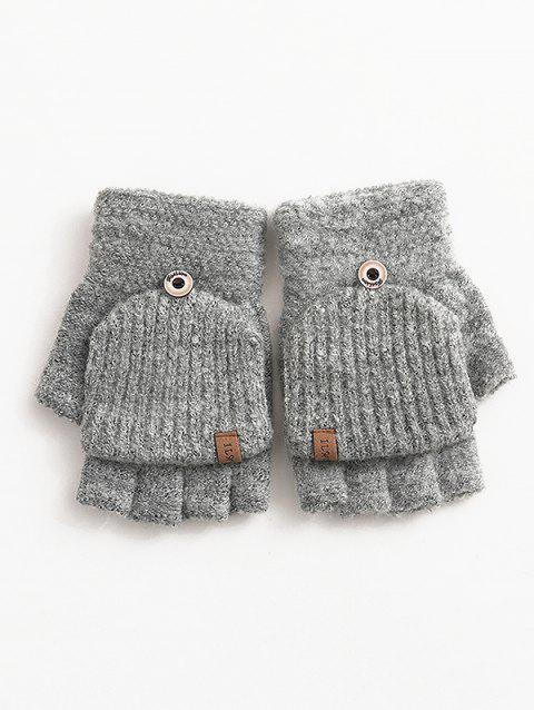 Solid Color Flanging Crochet Knitted Gloves - GRAY CLOUD