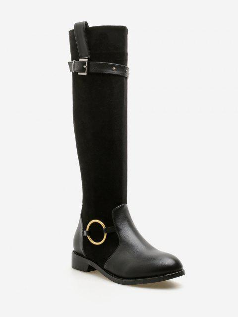 Chunky Heel Buckle Strap Knee High Boots - BLACK EU 36