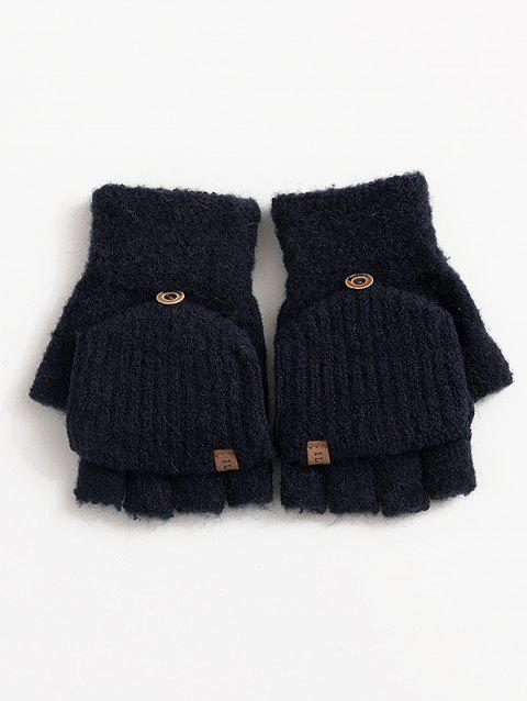 Solid Color Flanging Crochet Knitted Gloves - BLACK