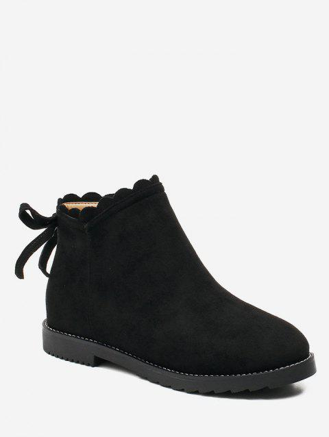 Wave Top Line Suede Ankle Boots - BLACK EU 36