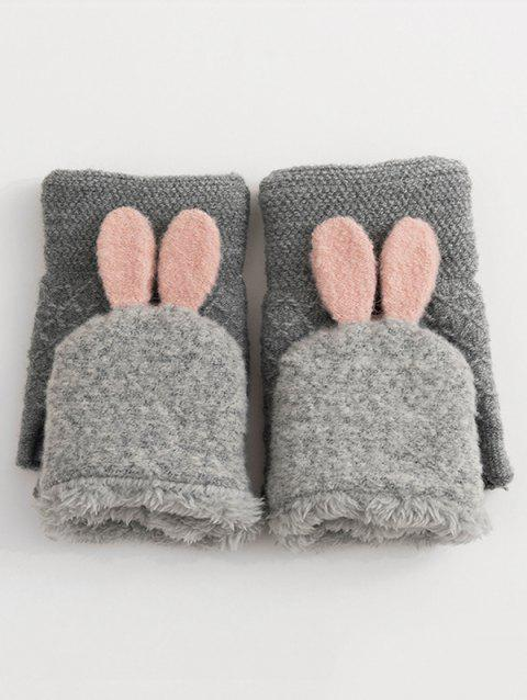 Cute Rabbit Ears Knitted Warm Gloves - GRAY