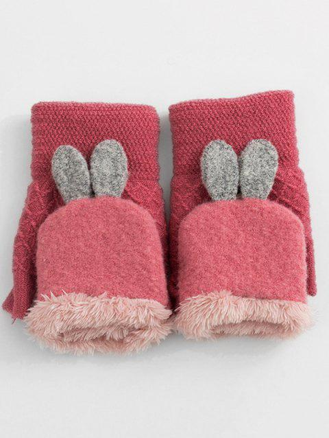 Cute Rabbit Ears Knitted Warm Gloves - LIGHT CORAL