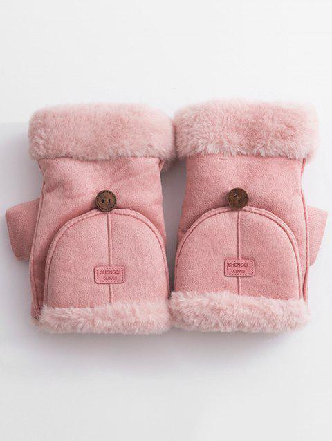 Winter Flanging Crochet Knitted Gloves - PINK