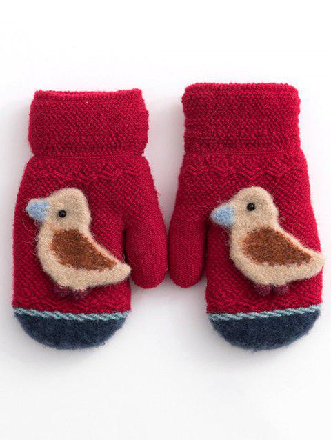 Winter Bird Crochet Knitted Gloves - RED WINE