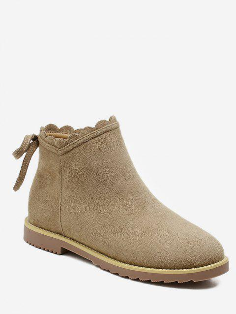 Wave Top Line Suede Ankle Boots - APRICOT EU 38