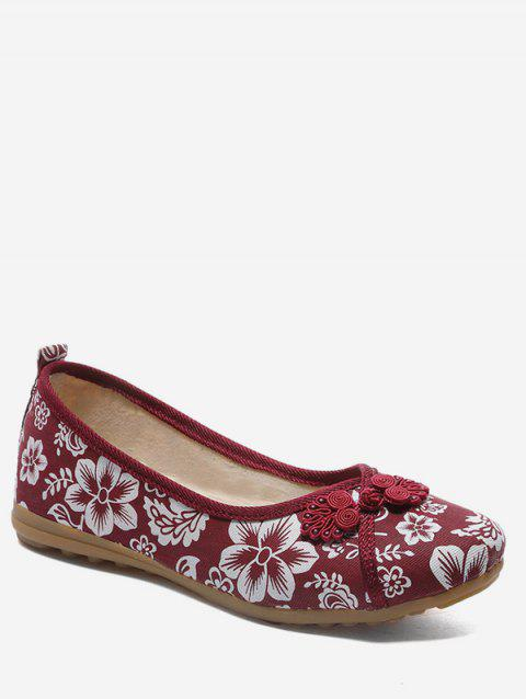 Retro Floral Print Loafers Flats - LAVA RED EU 36