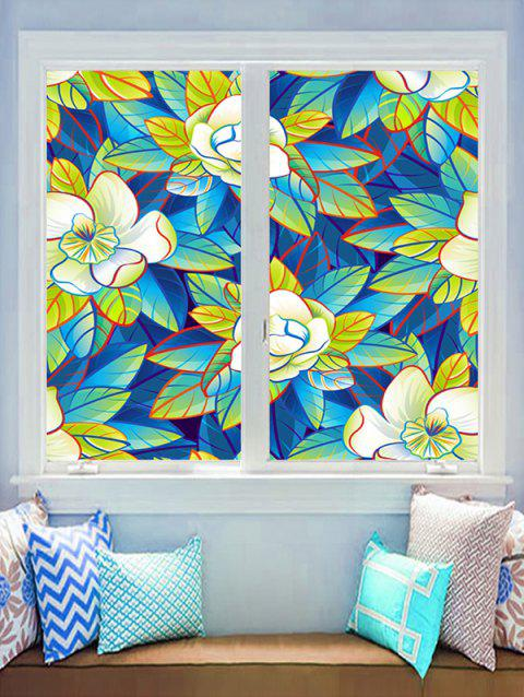 Flowers and Leaf Print Glass Stickers - multicolor 45*60CM*2