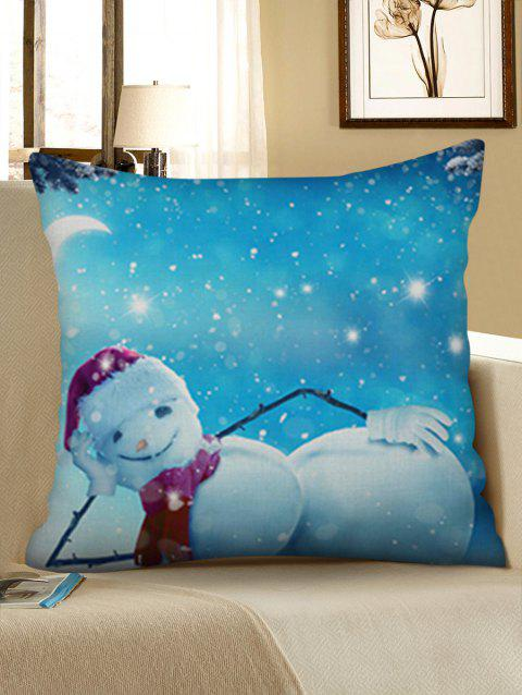 Christmas Snowman Smile Printed Linen Pillowcase - CRYSTAL BLUE W18 X L18 INCH