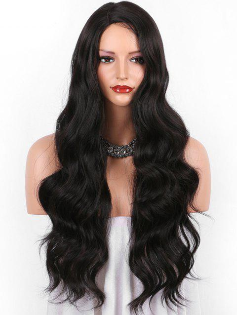 Long Side Parting Body Wave Heat Resistant Synthetic Wig - NATURAL BLACK