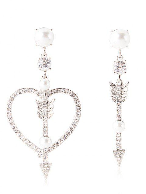 Rhinestone Inlaid Heart Arrow Asymmetric Earrings - WHITE