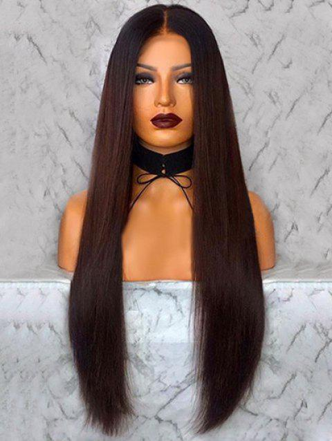 Middle Part Straight Capless Synthetic Long Wig - CHOCOLATE
