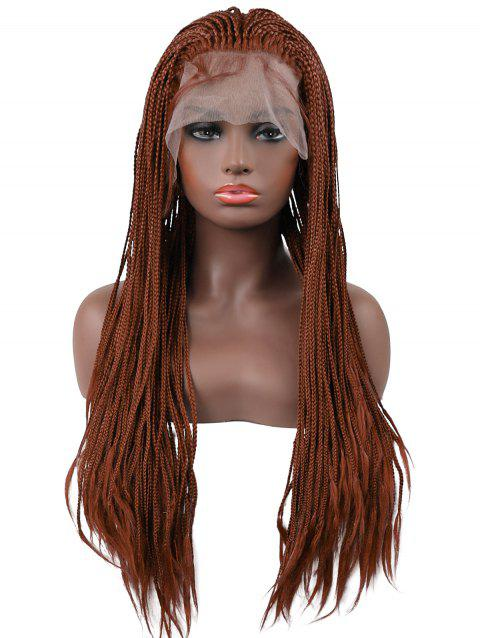 6d429bd48e7a56 Long Three Strands of Micro Braids Lace Front Synthetic Wig - BROWN 24INCH