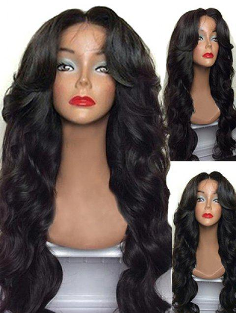 Long Capless Middle Part Body Wave Synthetic Wig - NATURAL BLACK