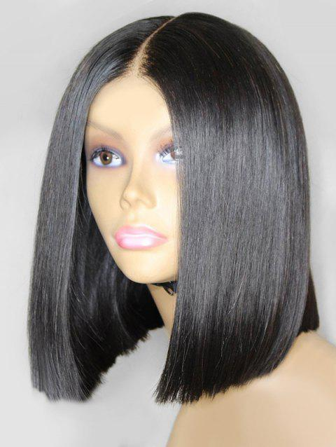 Synthetic Fiber Medium Center Parting Straight Bob Wig - NATURAL BLACK