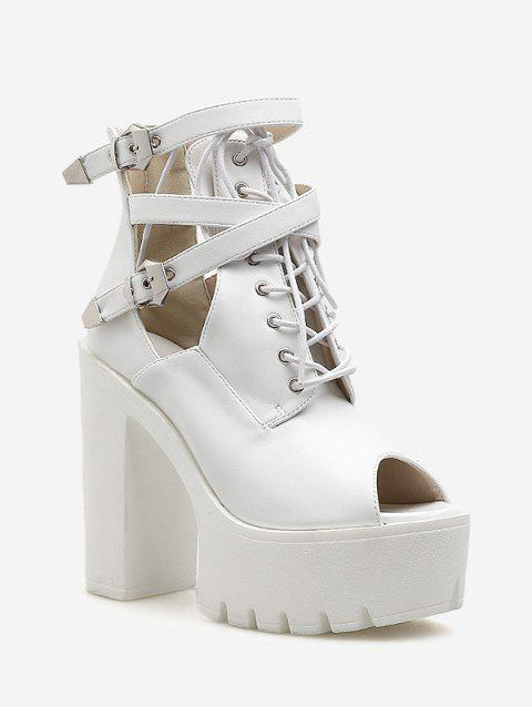 Ankle Strap Chunky Heel Platform Sandals - WHITE EU 36