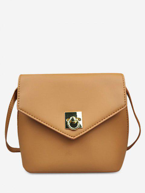 Minimalist Solid Color Crossbody Bag - LIGHT BROWN