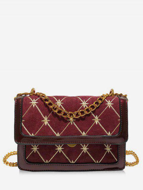 Geometric Pattern Going Out Crossbody Bag - RED WINE