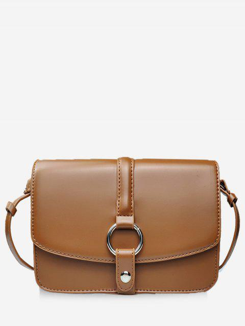 Round Hole PU Leather Crossbody Bag - BROWN