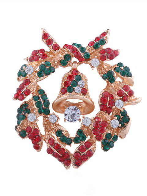 Colored Rhinestone Christmas Bell Brooch - multicolor