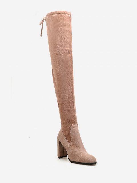 Chunky Heel Suede Drawstring Thigh High Boots - ORANGE PINK EU 38