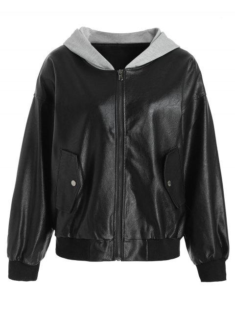 PU Leather Hooded Jacket - BLACK L