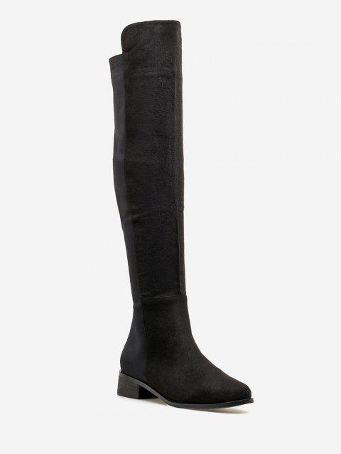 Chunky Heel Suede Over the Knee Boots - BLACK EU 37