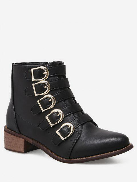 Pointed Toe Buckle Strap Short Boots - BLACK EU 36