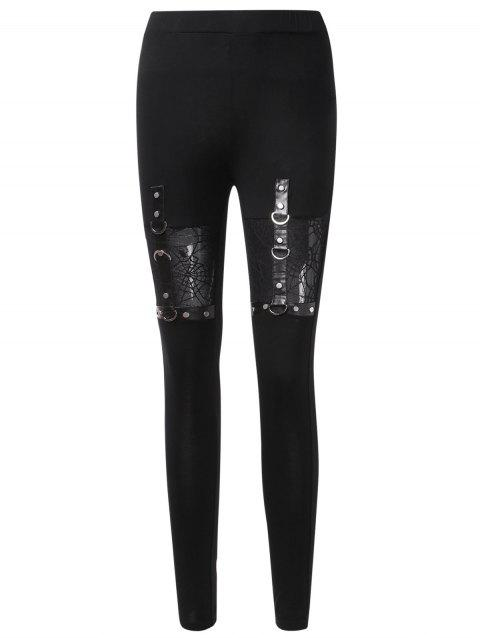 Halloween Spider Web Panel Leggings - BLACK M