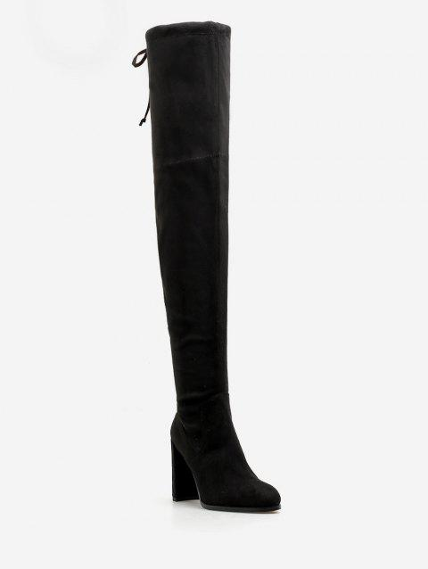 Chunky Heel Suede Drawstring Thigh High Boots - BLACK EU 39