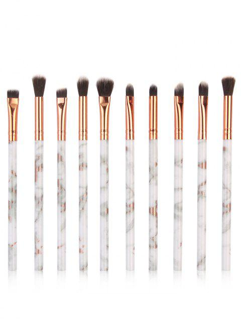 Cosmetic 10Pcs Marbles Handles Synthetic Fiber Hair Eye Makeup Brush Set - PLATINUM