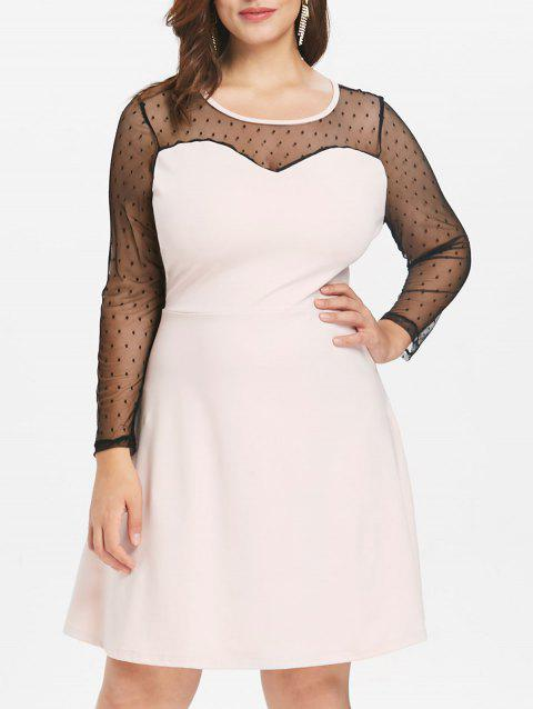 Plus Size Polka Dot Mesh Dress - SAKURA PINK 3X