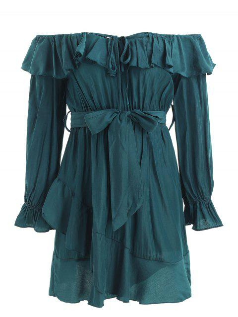 Ruffles Trim Long Sleeve Belted Dress - GREENISH BLUE S
