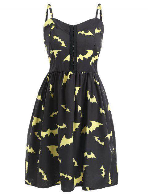 Halloween Bats Print Half Buckles Dress - BLACK 2XL