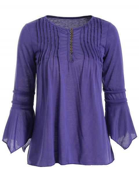 Half Buttons Flare Sleeve Blouse - PURPLE IRIS 2XL
